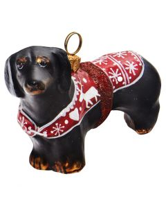 Black Dachshund in Nordic Sweater