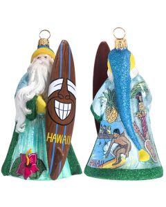 Glitterazzi Hawaii Santa with Tiki Surfboard