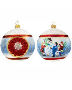 Vintage Victorian Snowman Reflector Ball
