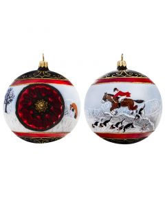 Vintage Wintery Fox Hunt Reflector Ball