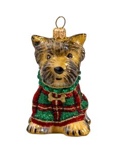 Yorkshire Terrier in Tartan Plaid Glittered Sweater - Only 1 Available!