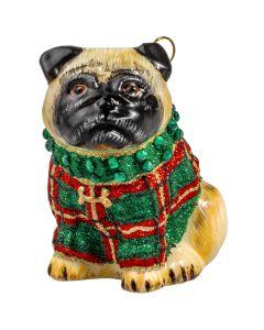 Pug Fawn in Tartan Plaid Glittered Sweater