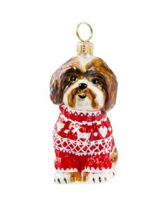 Shih Tzu Brown & White in Nordic Sweater