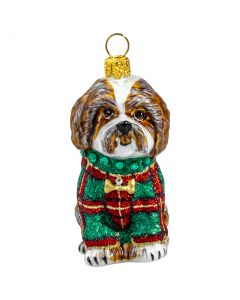 Shih Tzu Brown in Tartan Plaid Glittered Sweater