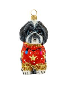 Shih Tzu Black & White in Ugly Christmas Sweater
