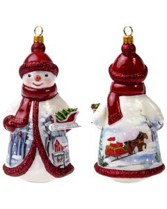 Glitterazzi Red and Silver Snowman Holding a Sleigh - NEW!