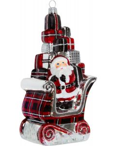 Santa in Sleigh with Gifts - Tartan Plaid Version