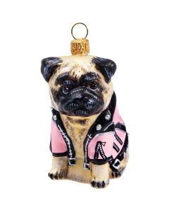 Pug Fawn in Pink Motorcycle Jacket