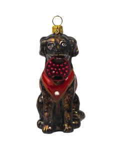 Chocolate Lab in Vest with Crystal Fetching Ring - NEW!