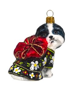 Black & White Shih Tzu in Kimono with Red Puff Bow