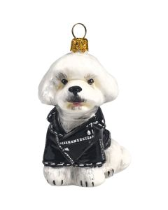 Bichon Frise In Black Motorcycle Jacket - NEW!