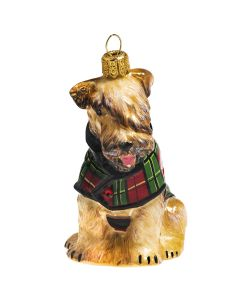 Soft Coated Wheaten in Tartan Checked Coat - NEW!